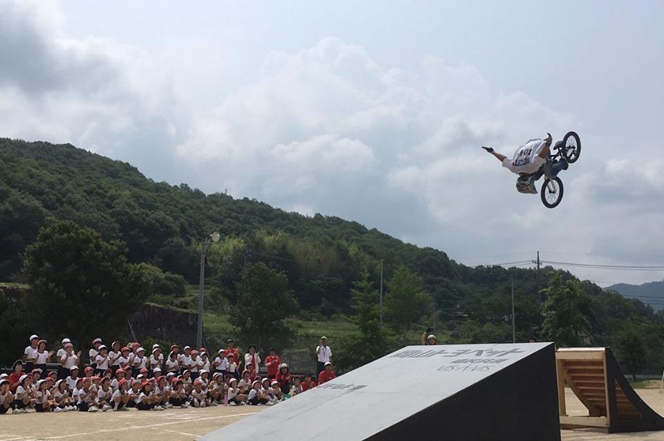 BMX Dream Caravanで岡山県 小田小学校を訪問